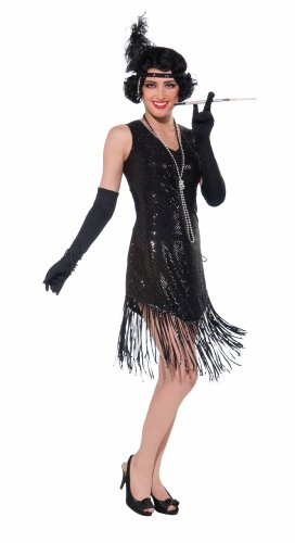 Forum Novelties Roaring 20's Swingin' In Sequins Flapper Costume, Black, One Size (Black Dress Halloween Costumes)