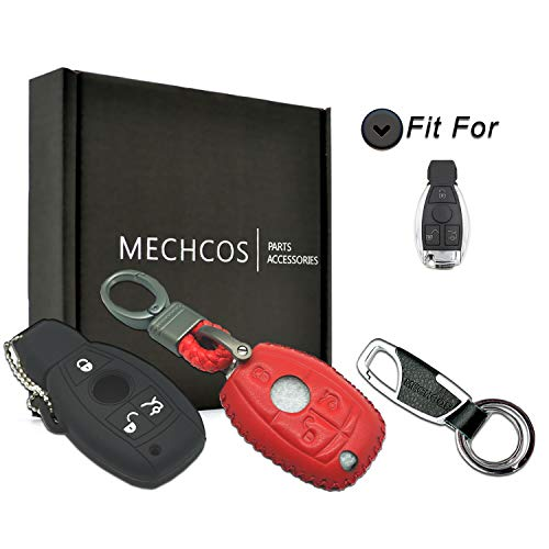 2017 Mercedes Benz S500 - MECHCOS Compatible with fit for Mercedes Benz C CLK CL E GL GLK ML R S SL SLK Class Leather Case Protector Key Fob Cover Smart Car Remote Holder, Bonus: Silicone Case & Key Ring-Red