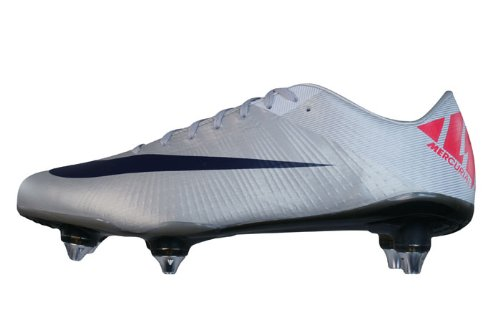 NIKE Mercurial Vapor Superfly III SG Mens soccer Boots/Cleats - White Silver - SIZE US 7