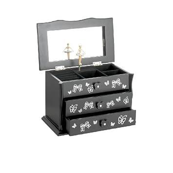 Black Beautiful Ballet Dance Wooden Music Jewellery Box Katz Dancewear JB05