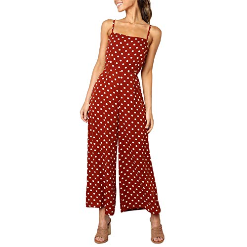 Thenxin Women Holiday Jumpsuit Cami Straps Ploka Dot Print Wide Leg Bow Knot Back Long Rompers(Red,XL)