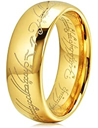 The One Ring Lord Of The Rings Style Tungsten Ring Gold Color Lord Rings Laser Etched