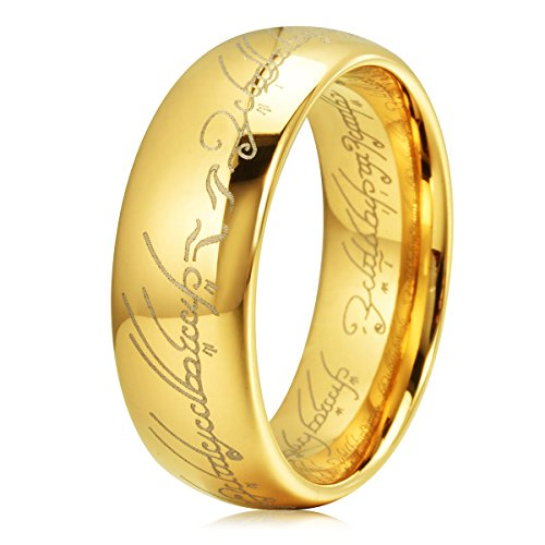 Three Keys Jewelry The Lord Of The Rings Style Tungsten Carbide Gold Ring Lord Laser Etched Band Ring Size 10.5 by Three Keys Jewelry
