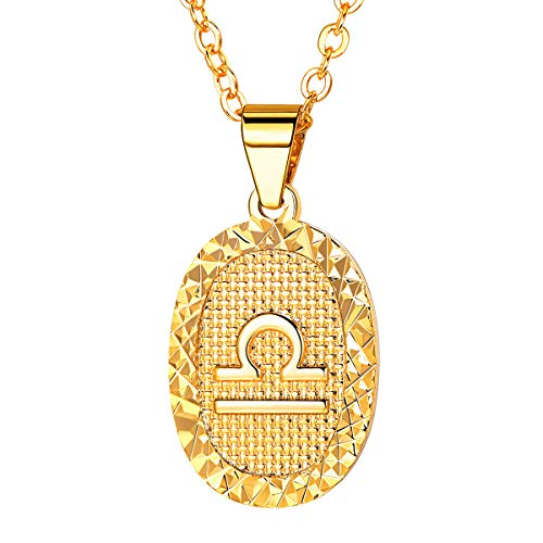 FOCALOOK Women Zodiac Sign Libra Jewelry 18k Gold Plated Oval Constellation Horoscope Pendant Necklace Birthday Gift