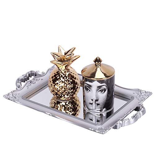 Zosenley Antique Decorative Mirror Tray, Floral Jewelry Organizer Tray for Makeup, Decoration and Accessory, Large Rectangle Display and Serving Tray (Sliver)