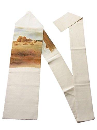 乳白色モットー宝リサイクル 名古屋帯 塩瀬 秋の農村風景 正絹 お太鼓柄