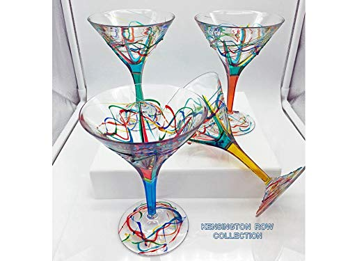 GLASSWARE & DRINKWARE -''AMALFI'' MARTINI GLASSES - SET OF FOUR - HAND PAINTED VENETIAN GLASSWARE