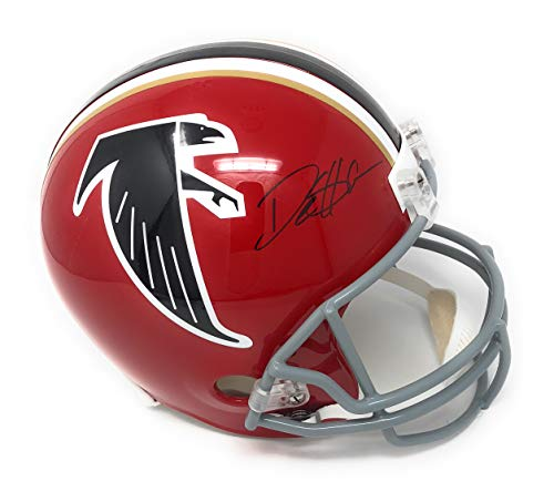 Deion Sanders Atlanta Falcons Signed Autograph Throwback Red Full Size Helmet Sanders GTSM Player Hologram Certified
