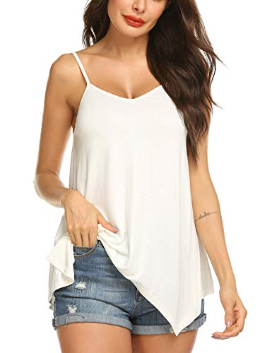 Zeagoo Womens Handkerchief Hem Flowy Top Casual Summer Strap Camisoles Tank White S