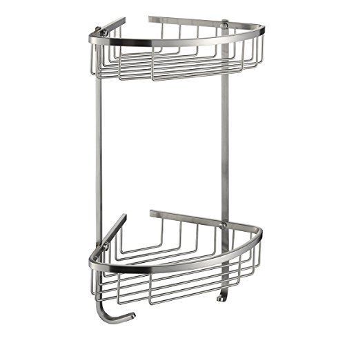 Taozun SUS 304 Stainless Steel Shower Caddy Basket 2-Tier Triangular Wall Mount Brushed (Corner Combo Basket)