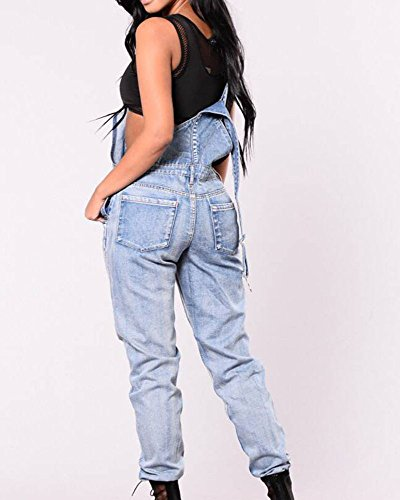 Ropa Hole Jeans deportiva mujeres mezclilla Nuevas de Clothing azul Jumpsuit Casual Ropa Club Party nqX7fPB7w