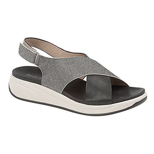 Boulevard Womens/Ladies Touch Fastening Crossover Sling Back Sandals Black/Silver TAg7wxOg