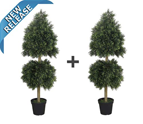 AMERIQUE Pair Unique & Gorgeous 6 Feet Wide and Dense Cedar Topiary Double Ball Artifical Trees Silk Plant with UV Protection Indoor & Outdoor, Pre-Potted Each, Green 2