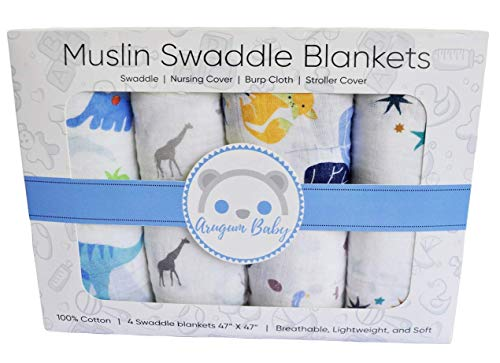 Premium 100% Organic Cotton Muslin Swaddle Baby Blankets 4 Pack Gift Set | 47' x 47' Large Oversized | Animal and Star Soft Color Theme | Multi Purpose |Baby Shower Gift | Unisex
