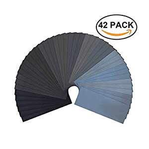 Sandpaper, 120 to 3000 Grit Dry Or Wet Sand Paper Assortment for Automotive Polishing, Woodwork Finishing, Scratched Plastic Repairing, 9x3.6 in, 42 Sheets