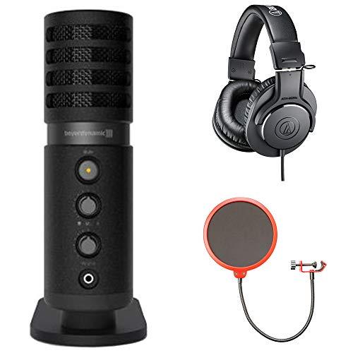 beyerdynamic Fox USB Microphone (727903) w/Headphones Bundle Includes, Audio-Technica Professional Monitor Headphones and Universal Pop Filter Microphone Wind Screen w/Goose Neck Mic Stand -