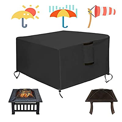 Patio Fire Pit Covers Round & Square 50/44/40/36/32/30 inch - Heavy Duty Waterproof Windproof Anti-UV All-Weather Furniture Cover