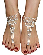 Fashionable Rhinestone Toe Barefoot Sandals Anklet Foot Chain for Women