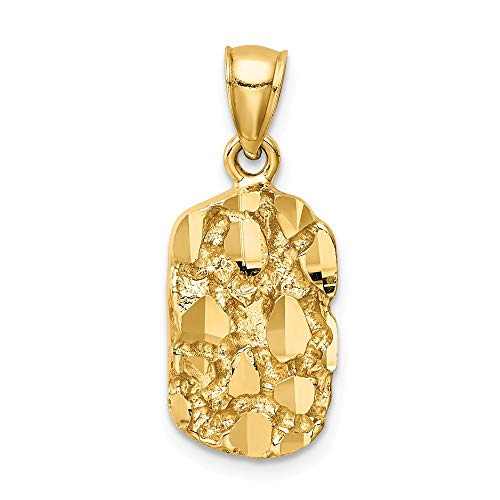 14k Yellow Gold Nugget Pendant Charm Necklace Fancy Fine Jewelry Gifts For Women For Her
