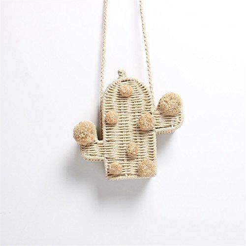 Beach Bag Cactus Rattan Bag Straw Bag Summer Bags With Pom Pom Women Messenger Handbag Braided 19X19X6cm