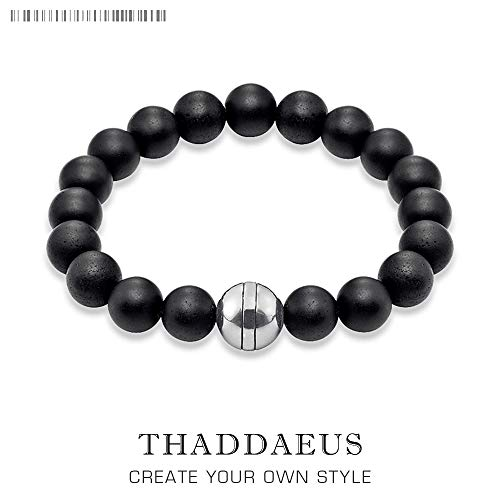 Gabcus Obsidian and Silver TMS Karma DIY Bracelets,2017 Ts Super Deals Wholesale Fashion Jewelry,Thomas Style Good Gift for Men & Women - (Metal Color: 22 cm)