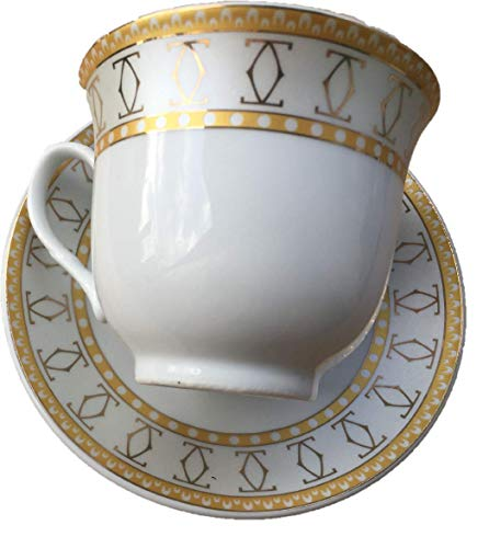 Set of 12 Links Design in Gold & Platinum Tea Cup Saucer Set with Gift Box YDY-C03B{Ashley Gifts} ()