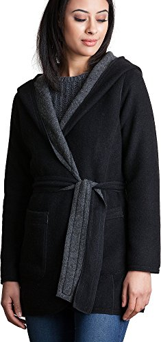 Betty Reversible Hooded Wool-Blend Wrap Coat (Reversible Overland Coat)