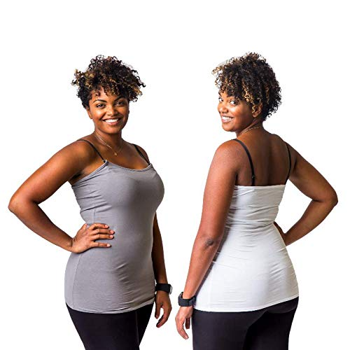 Undercover Mama Nursing Tank 2 Pack - Perfect Maternity Undershirt, Wht-Grey ()