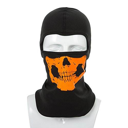 CIDEROS Balaclava Mask Ghost Skull Neck Face Thermal Under Helmet Protection Wind Stopper Quick Dry Light Reflection Warmer Mask Outdoor Sport Ski Cycle Motorcycle Bike CS Shooting,Orange