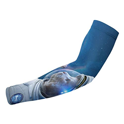 EWSOFM Space Cat Arm Sleeves UV Protection Cooling for Men Women Sunblock Cooler Unisex Fashion Armband Sports Baseball Running Cycling Outdoor Long Arm Cover ()