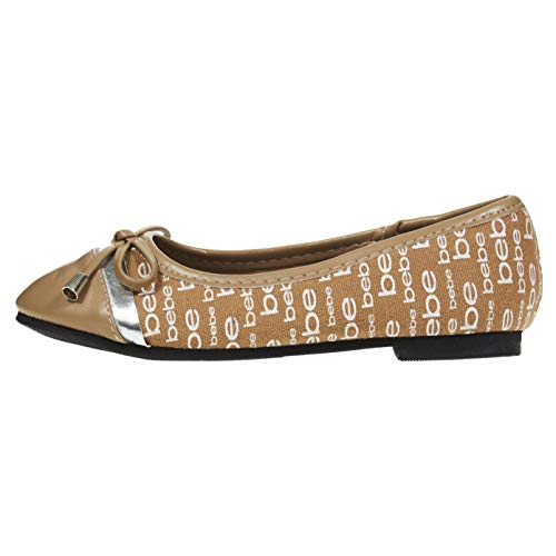 bebe Girls Ballet Flats Size 2 Round Toe with Bow and Logo Print Slip-On Shoes Flexible PU Leather Tan ()