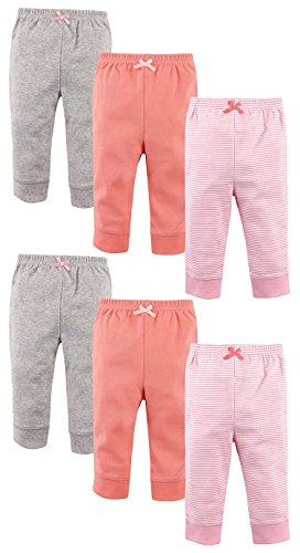 Luvable Friends Girls 6 Pack Tapered Ankle Pants, Light Pink Stripes, 12-18 Months