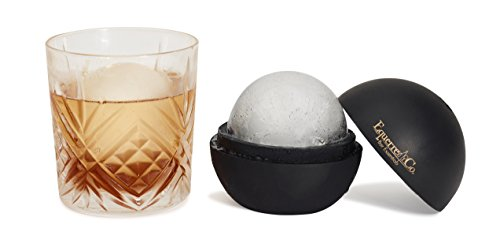 SPHERE ICE MOLDS - Easily Create Large 2.5 Inch Ice Balls With Our Premium Silicone Ice Ball Mold For Whisky, Cocktails, Wine & More. Set of 2 Elegant Black And Gold Designed Ice Sphere Maker.