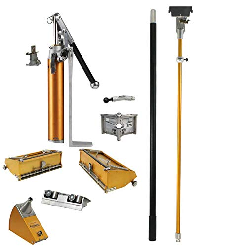 """TapeTech Full Drywall Finishing Set with 10"""" & 12"""" Flat Boxes, Angle Head, Angle Box, Corner Roller, Pump & Handles"""