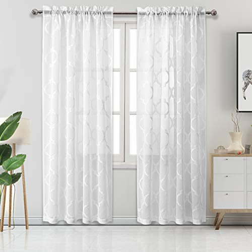 DWCN White Moroccan Embroidered Sheer Curtains - Faux Linen Rod Pocket Semi Voile Sheer Living Room Curtains, 52 W x 84 L Inch, Set of 2 Window Curtain ()