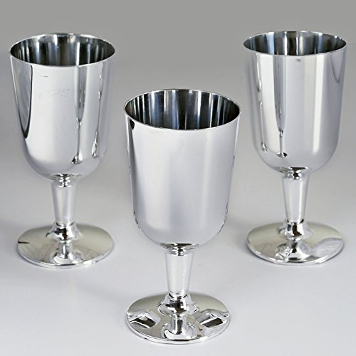 BalsaCircle 44 pcs 7 oz Silver Plastic Wine Glasses - Disposable Wedding Party Catering Tableware]()