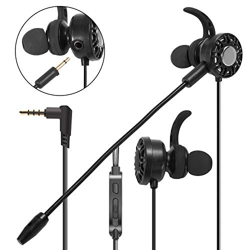 3.5mm Gaming Earbuds with Mic Insten In-Ear Gaming Headset Stereo Headphones with DUAL MICROPHONE [DETACHABLE and BUILT-IN] compatible with PS4 xBox One Nintendo Switch PC Mobile Game Cell phone Black from INSTEN
