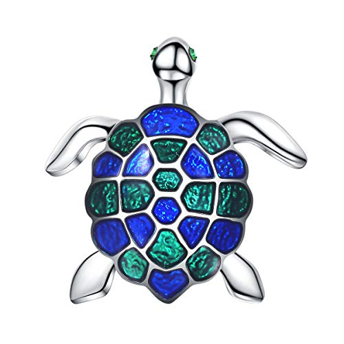 (FOCALOOK Cute Blue Green Enamel Tortoise Turtle Brooches for Women and Men Platinum Plated Jewelry Deco Safety Pin Christmas)