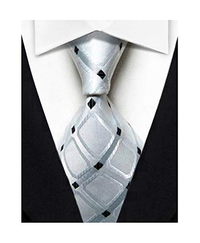 Wehug Men's Classic Tie Silk Woven Necktie Jacquard Neck Ties For Men White LD0044
