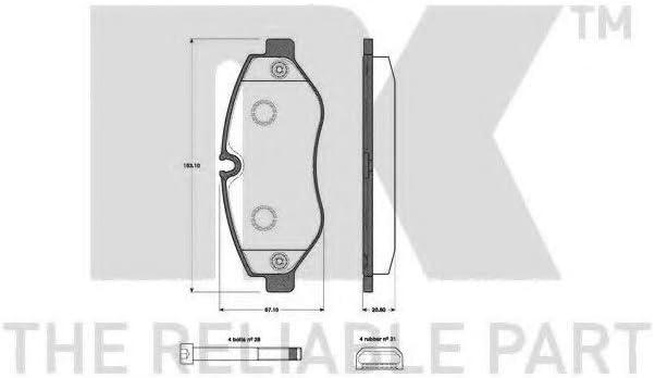 Scheibenbremse NK 223362 Bremsbelagsatz