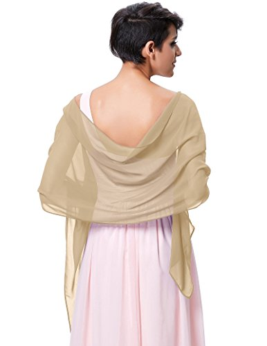 Silk Sequin Chiffon - Women's Bridal Wedding Party Shawl Wraps,Champagne KK229