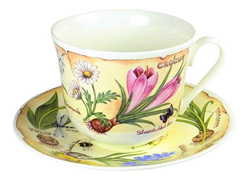 Saucer Cup Flower (Roy Kirkham Spring Flowers Garden Breakfast Teacup and Saucer Set Fine Bone China England)
