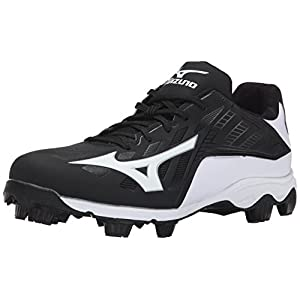 Mizuno Men's 9 Spike ADV Franchise 8 Baseball Cleat, Black/White, 10.5 M US