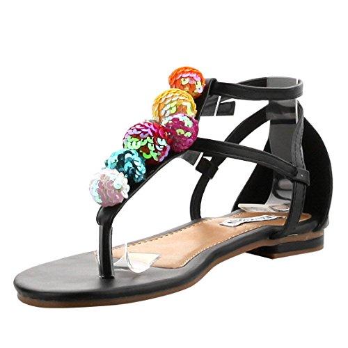 T Glitter Black ROBBIN Thong Strap AG26 Ball Sandals Womens Beach CAPE fwPqWSxtvt