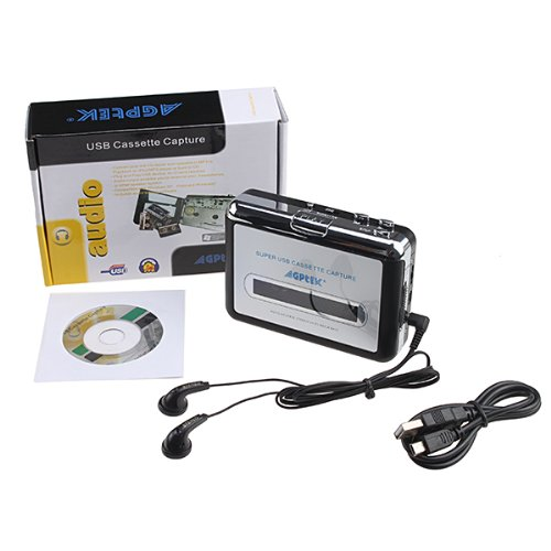 AGPtek® Tape to PC Super USB Cassette-to-MP3 Player Converter With USB Cable, Headphones and Software