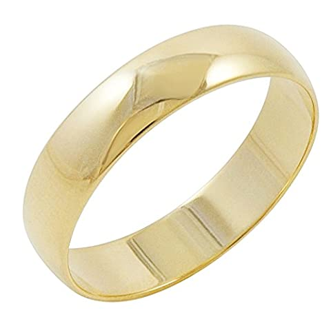 Men's 10K Yellow Gold 5mm Traditional Plain Wedding Band (Available Ring Sizes 7-12 1/2) Size 7 (10k Gold Ring Size 5)