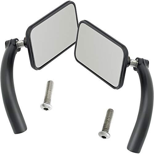 Biltwell UP- REC-HD-BK Rectangle Perch Mount Mirror for H-D (Pair) -Black