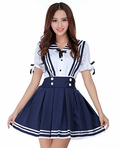 [POJ Lolita Style Japanese High School Girls Uniform [ S / M / L / XL ] Short Sleeve (M)] (Halloween Costume Ideas 2016 Men)