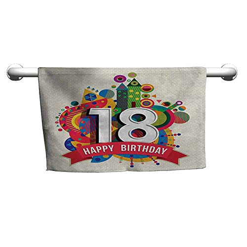 duommhome 18th Birthday Beach Activity Bath Towel Colorful Geometric Stipes Dots Shapes Backdrop with Happy Birthday Quote W10 x L10 Multicolor