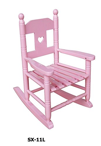 Pink Heart Girls Childrenu0027s Wooden Rocking Chair